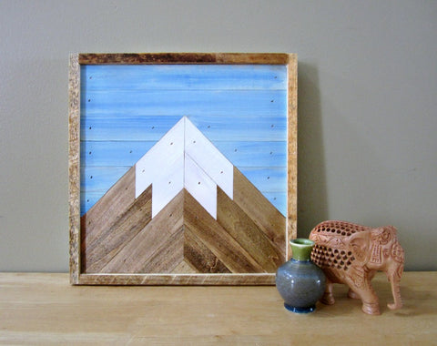 12x12 Reclaimed Wood Mountain Peak with Blue Sky
