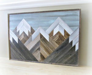 Reclaimed Wood Mountain Range with Blue Sky