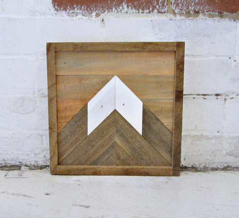 Reclaimed Wood Mountain Peak with Sunset Sky