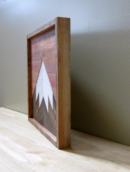 12x12 Reclaimed Wood Mountain Peak with Sunset Sky