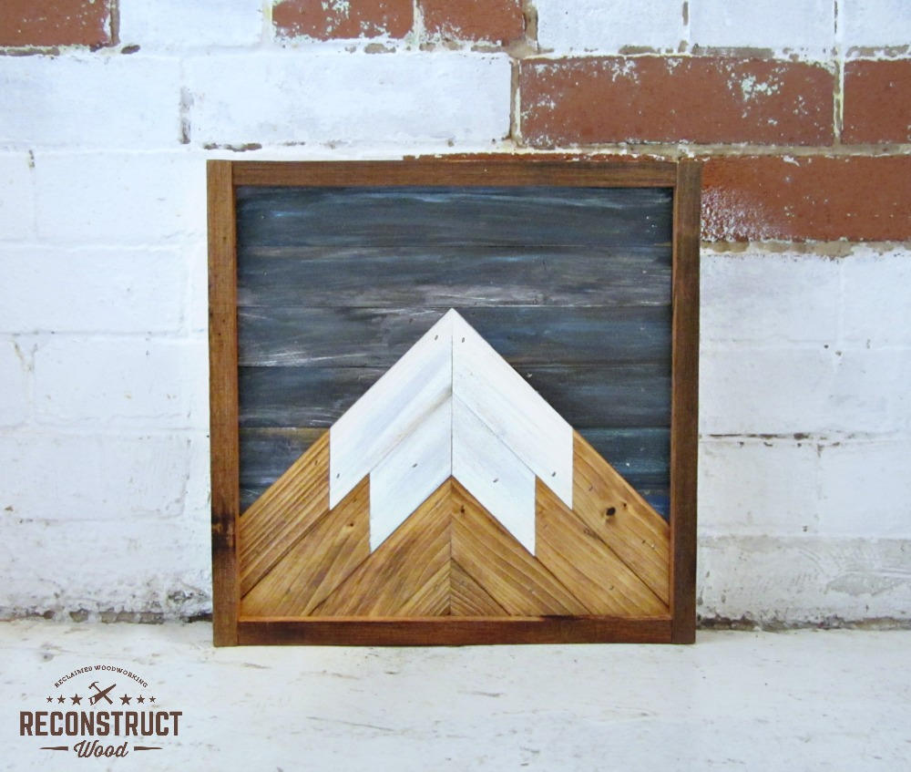 12x12 Reclaimed Wood Mountain Peak with Night Sky