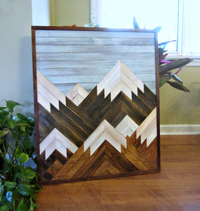 Reclaimed Wood Vertical Mountain Range with Blue Sky