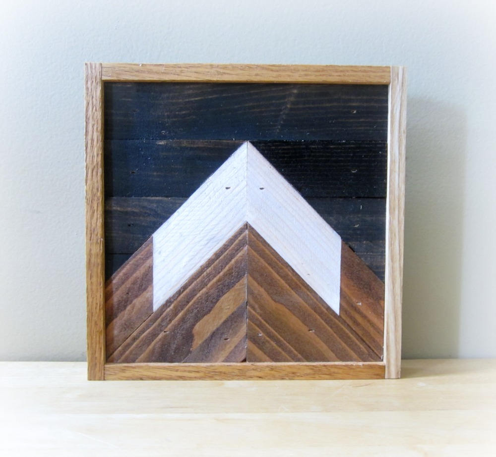 Reclaimed Wood Mountain Peak with Night Sky