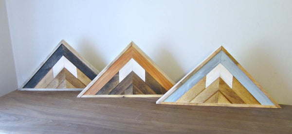 Triangle Reclaimed Wood Mountain Peak with Blue Sky