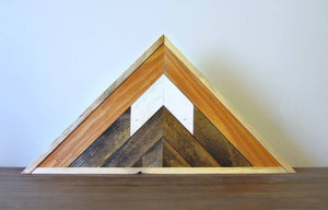 Triangle Reclaimed Wood Mountain Peak with Sunset Sky