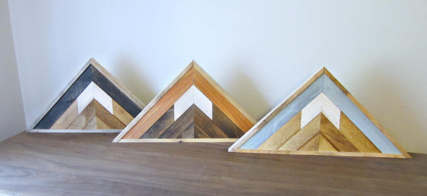 Triangle Reclaimed Wood Mountain Peak with Night Sky