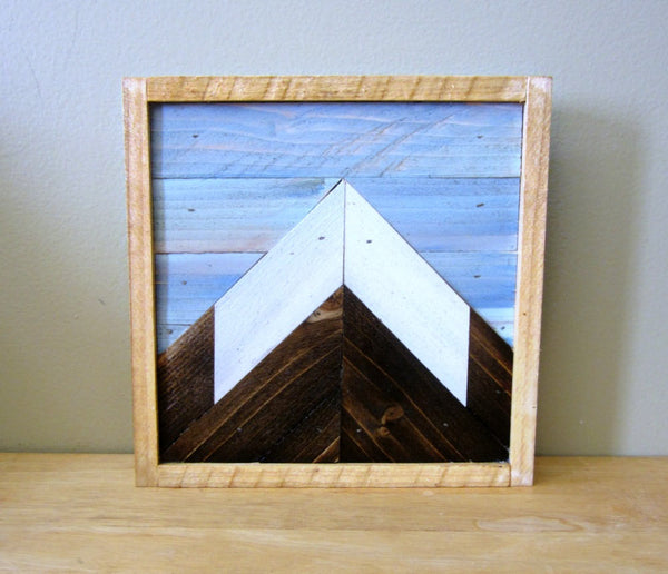 Reclaimed Wood Mountain Peak with Blue Sky