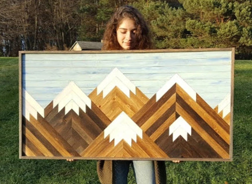Large Reclaimed Wood Mountain Range with Blue Sky