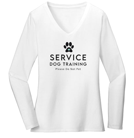 Service Dog Training - Women's V-Neck Long Sleeve T-Shirt