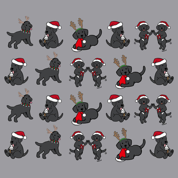 Christmas Black Lab Puppy Pattern - Adult Adjustable Face Mask