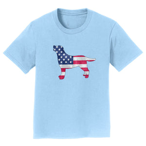 USA Flag Pattern Lab Silhouette - Kids' Tee Shirt