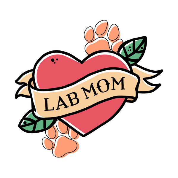Lab Mom Heart - Pocket - Adult Unisex T-Shirt