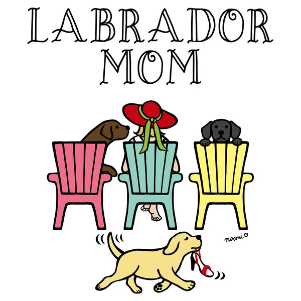 Labrador Dog Mom - Deck Chairs Design - Women's V-Neck Long Sleeve T-Shirt