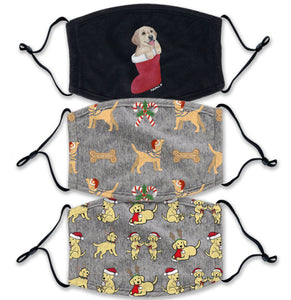 Christmas Yellow Lab 3 Pack - Adult Adjustable Face Mask