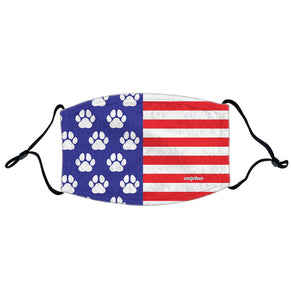 USA Flag - White Paw Prints - Adjustable Face Mask, Breathable, Reusable, Printed in USA