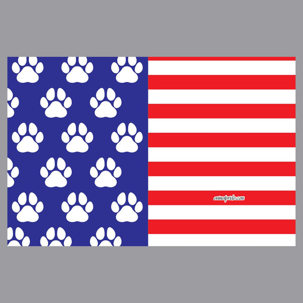 USA Flag - White Paw Prints - Adult Adjustable Face Mask