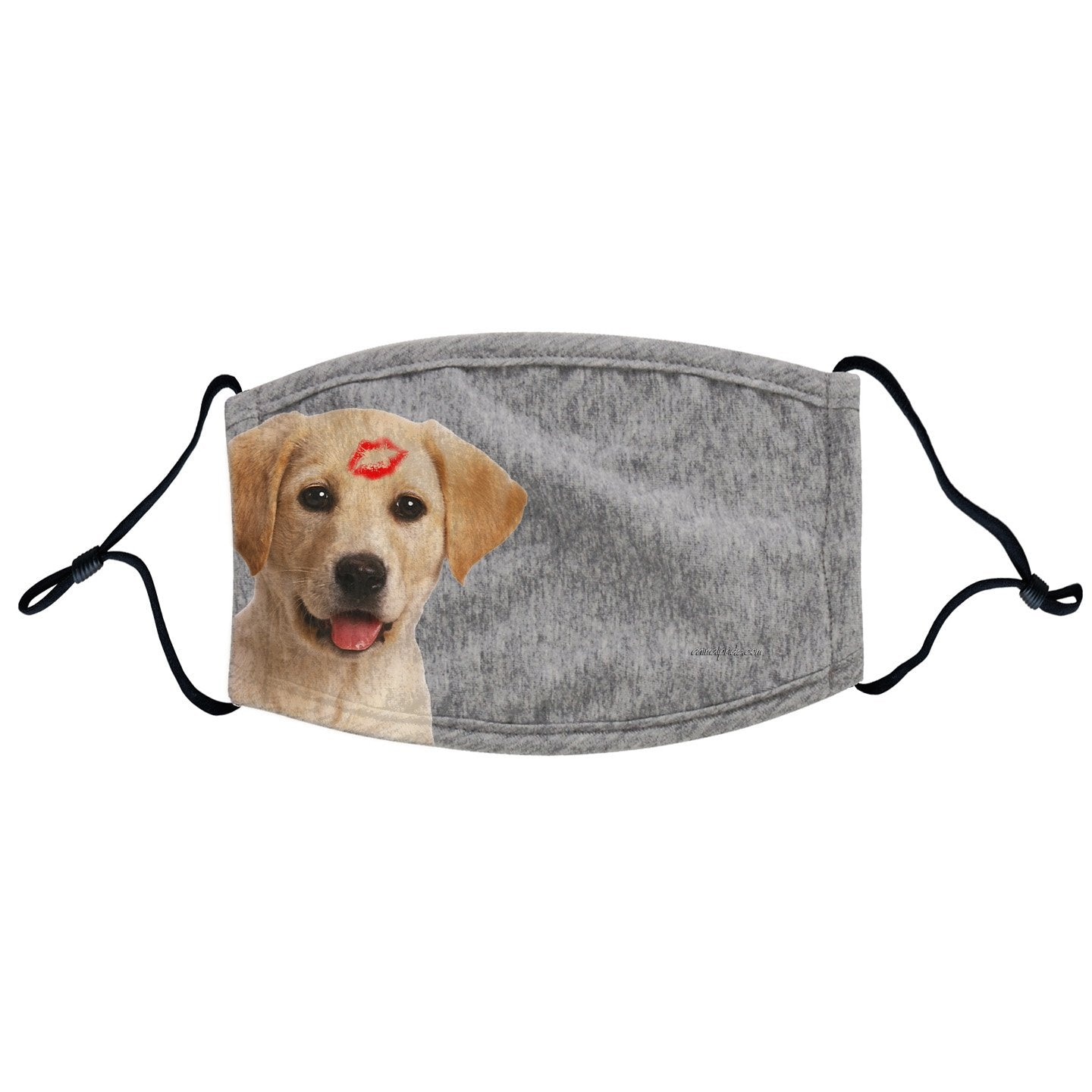Yellow Lab Kiss Face Mask - Adjustable Ear Loops, Reusable & Washable, Cloth - Labradors.com