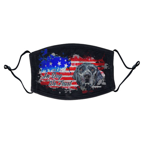 Labradors.com - Watercolor Black Lab In Dog We Trust - Adult Adjustable Face Mask