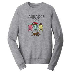 Chocolate Labrador Dog Mom - Mother's Day Deck Chairs Design | Crewneck Sweatshirt