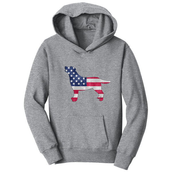 USA Flag Pattern Lab Silhouette - Kids' Unisex Hoodie Sweatshirt