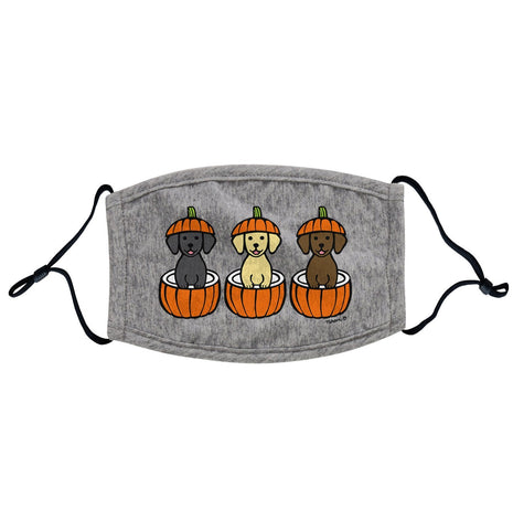 3 Pumpkin Lab Pups - Halloween - Adjustable Face Mask