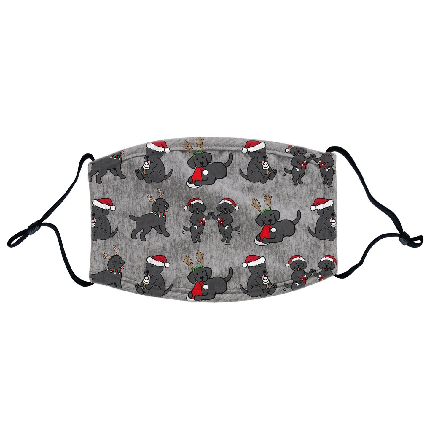 Christmas Black Labrador Puppy Pattern | Adjustable, Breathable Face Mask