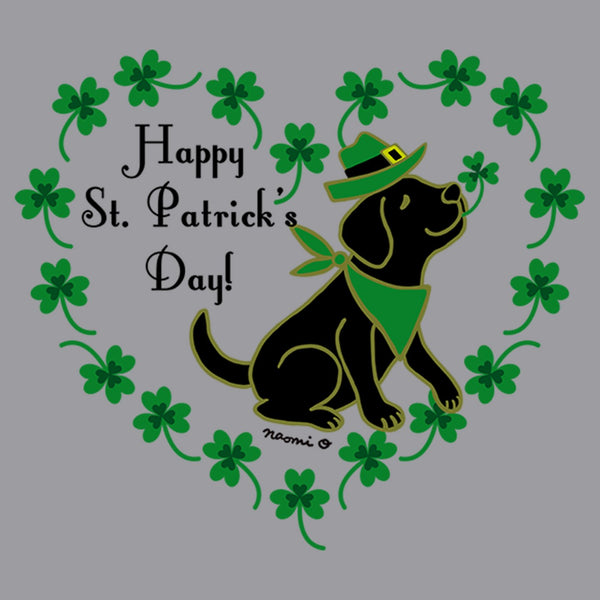 St. Patrick's Day Clover Heart Black Lab - Adult Unisex T-Shirt