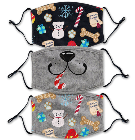 Christmas Dog 3 Pack - Adult Adjustable Face Mask