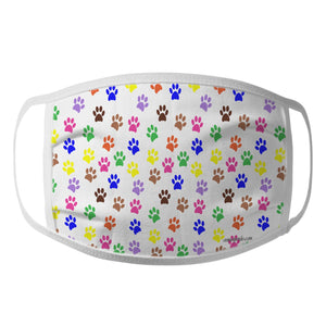 Colorful Dog Paw Prints - Face Mask