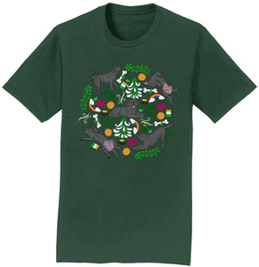 Black Labrador Green Fleur Design - Adult Unisex T-Shirt