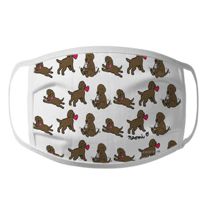 Chocolate Lab Puppy Cartoon Pattern - Face Mask
