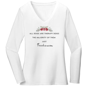 Therapy Dogs Freelance - Women's V-Neck Long Sleeve T-Shirt