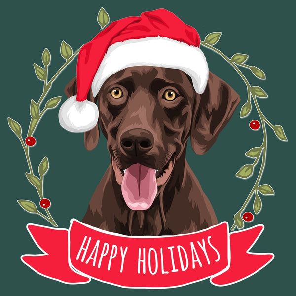 Happy Holidays Chocolate Lab - Women's Fitted T-Shirt
