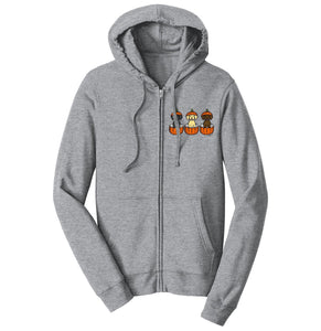 3 Pumpkin Lab Pups Left Chest - Halloween - Full-Zip Hoodie Sweatshirt