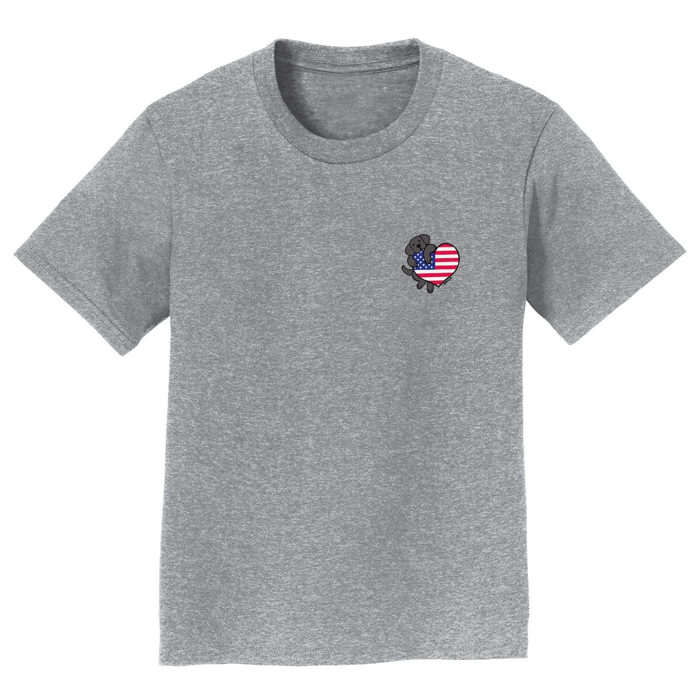 USA Flag Heart Black Lab Left Chest - Kids' T-Shirt