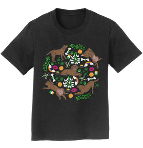 Chocolate Labrador Green Fleur Design - Kids' Unisex T-Shirt