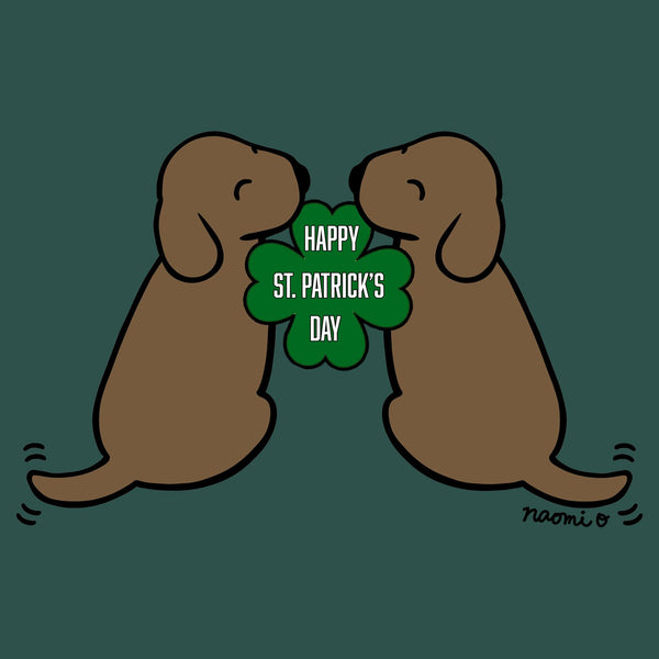 Happy St. Patrick's Day Chocolate Lab Puppies - Women's Fitted T-Shirt