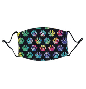 Tie Dye Paw Prints - Adjustable Face Mask, Breathable, Reusable, Printed in USA