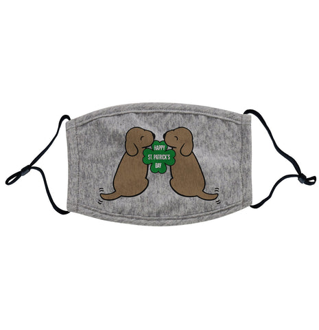 Animal Pride - Happy St. Patrick's Day Chocolate Lab Puppies - Adult Adjustable Face Mask