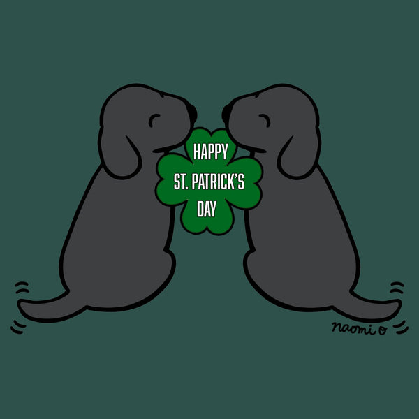 Happy St. Patrick's Day Black Lab Puppies - Women's Fitted T-Shirt