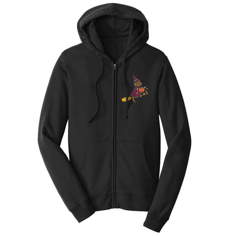 Chocolate Lab Witch Left Chest - Halloween - Full-Zip Hoodie Sweatshirt