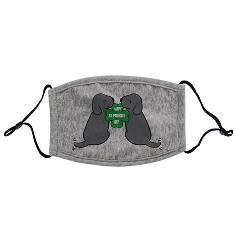 Animal Pride - Happy St. Patrick's Day Black Lab Puppies - Adult Adjustable Face Mask