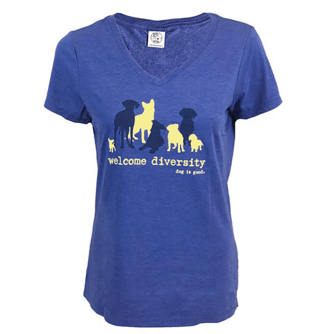 Welcome Diversity - Dog Is Good - Ladies' V-Neck T-Shirt