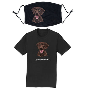 Chocolate Lab (Got Chocolate?) - T-Shirt/Mask Combo Pack