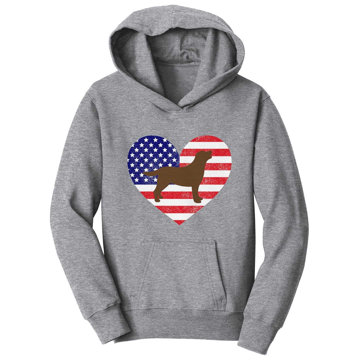 USA Flag Chocolate Lab Silhouette - Kids' Hoodie Sweatshirt