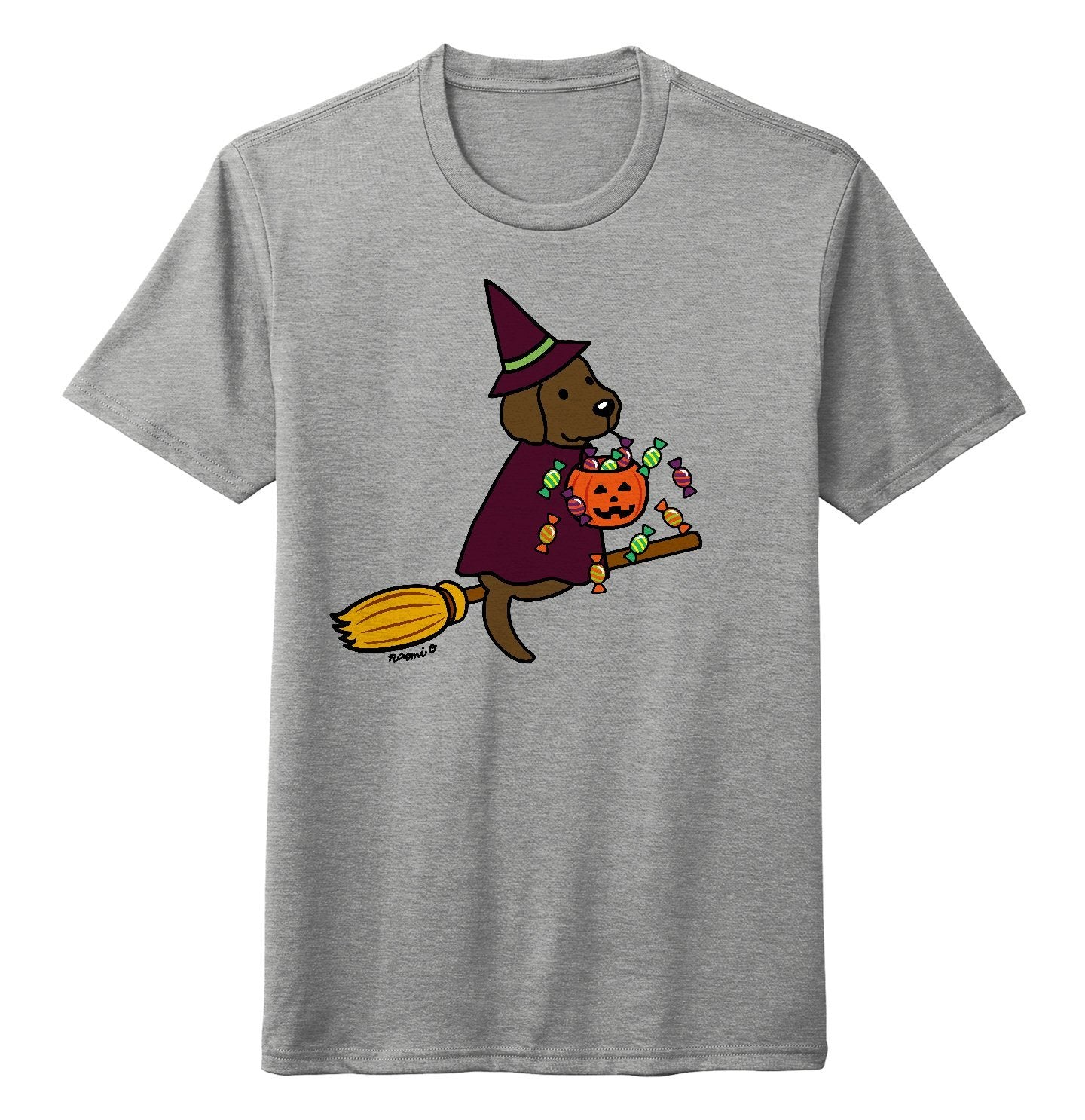 Chocolate Lab Witch - Halloween - Tri-Blend T-Shirt