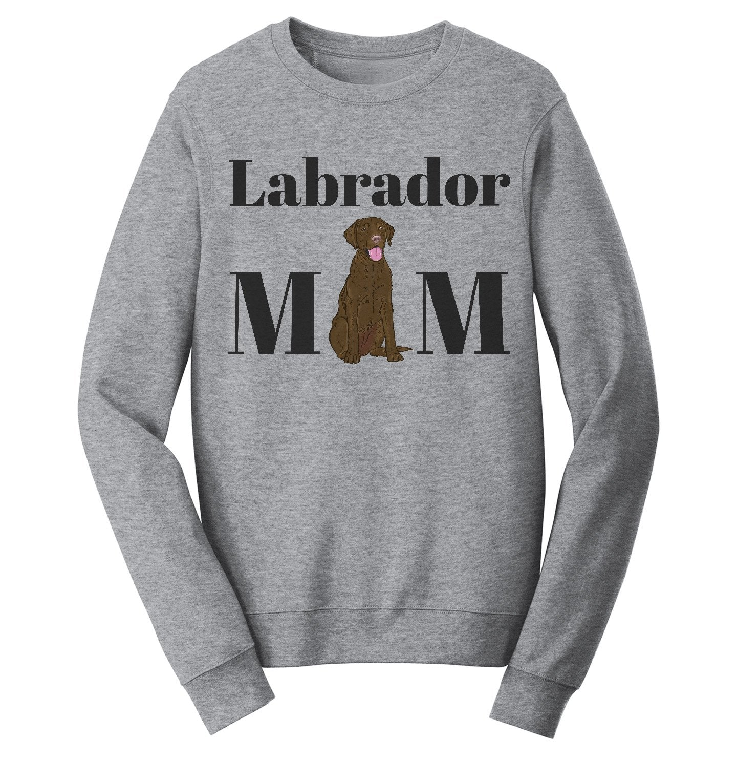 Labradors.com - Chocolate Labrador Mom Illustration - Adult Unisex Crewneck Sweatshirt