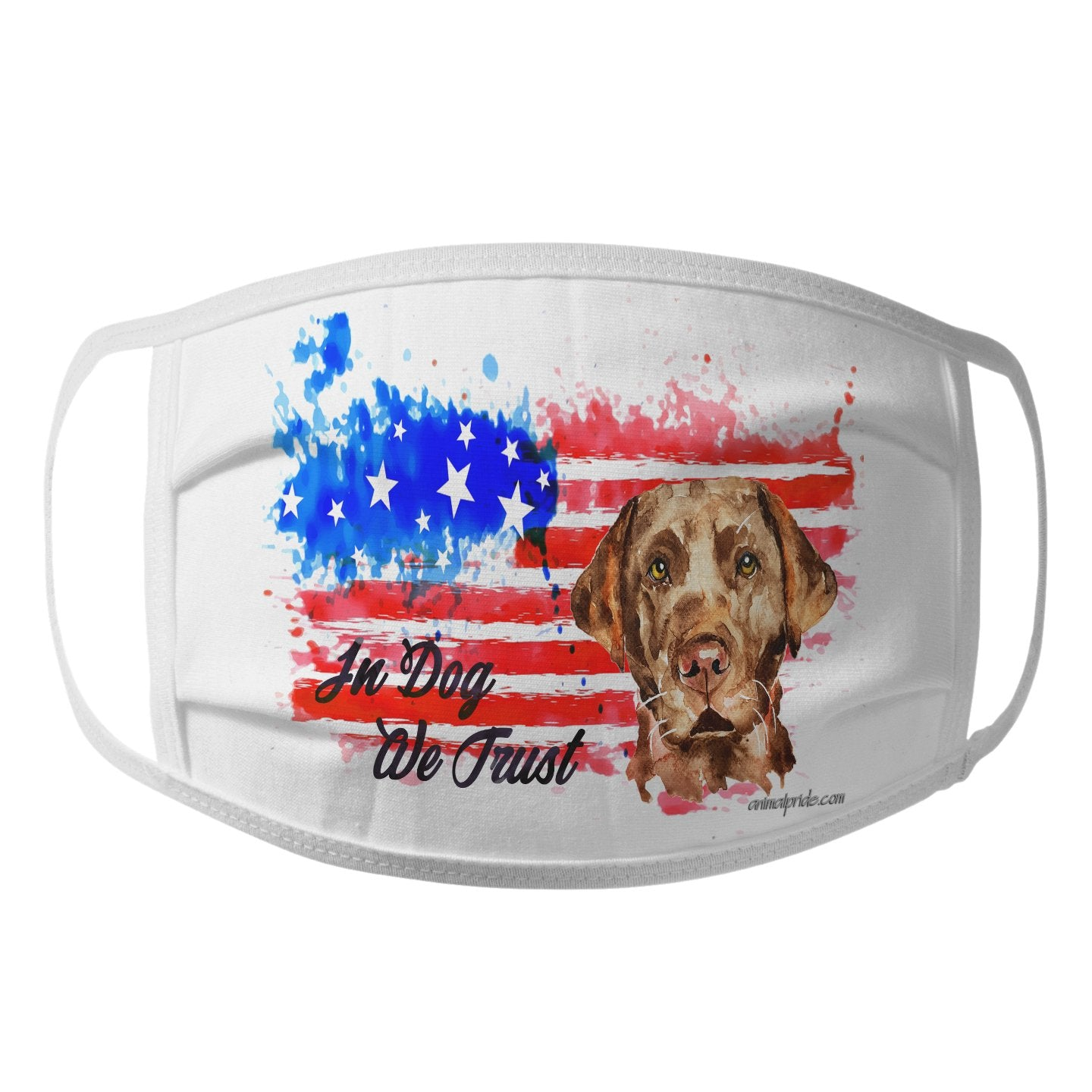 Watercolor Chocolate Lab In Dog We Trust - Face Mask