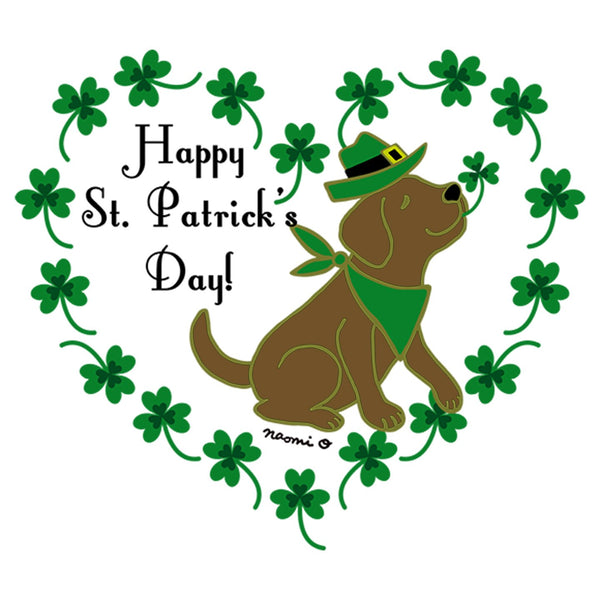 St. Patrick's Day Clover Heart Chocolate Lab - Women's Fitted T-Shirt
