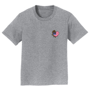 USA Flag Heart Chocolate Lab Left Chest - Kids' T-Shirt